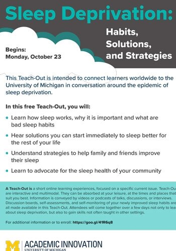 """Free Online """"Teach-Out"""" About Sleep Deprivation, and What to Do About It"""